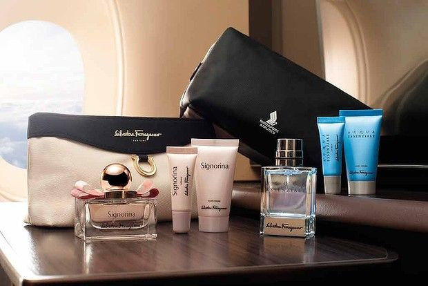 Singapore Airlines' suites and first class passengers are treated to Ferragamo bags with luxe Signorina products for female passengers...