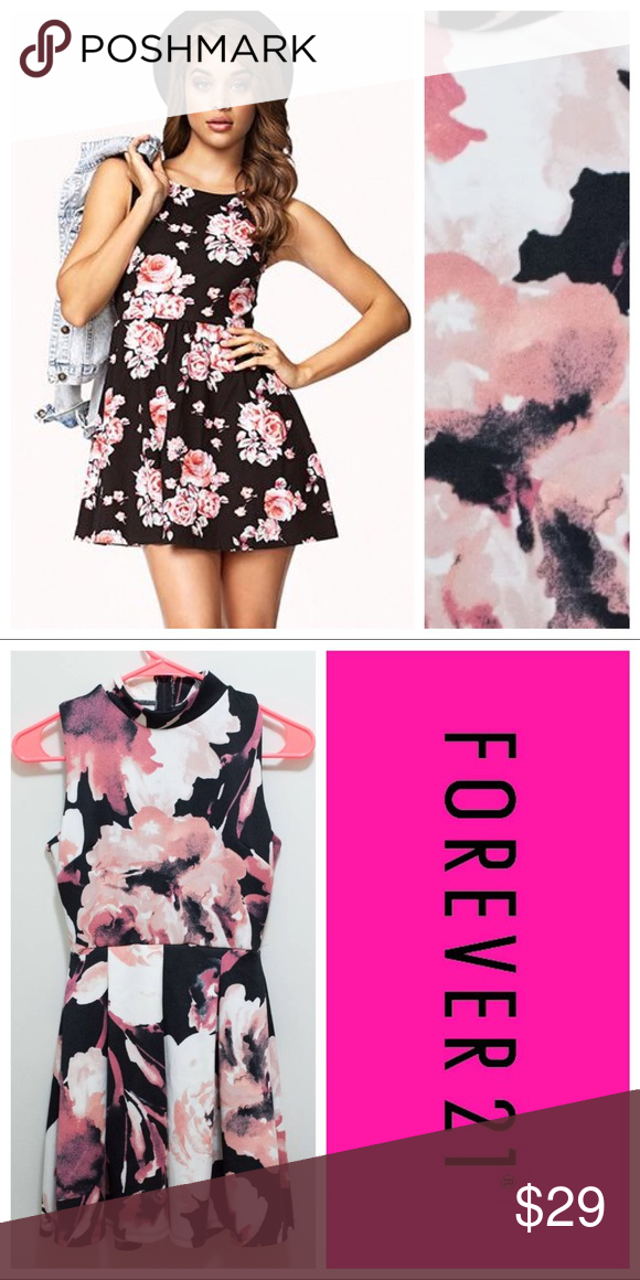 e20f3d31f0f2 F21 Pink Watercolor Dress Forever 21 Black Fit & Flare Skater Dress with  pink & white