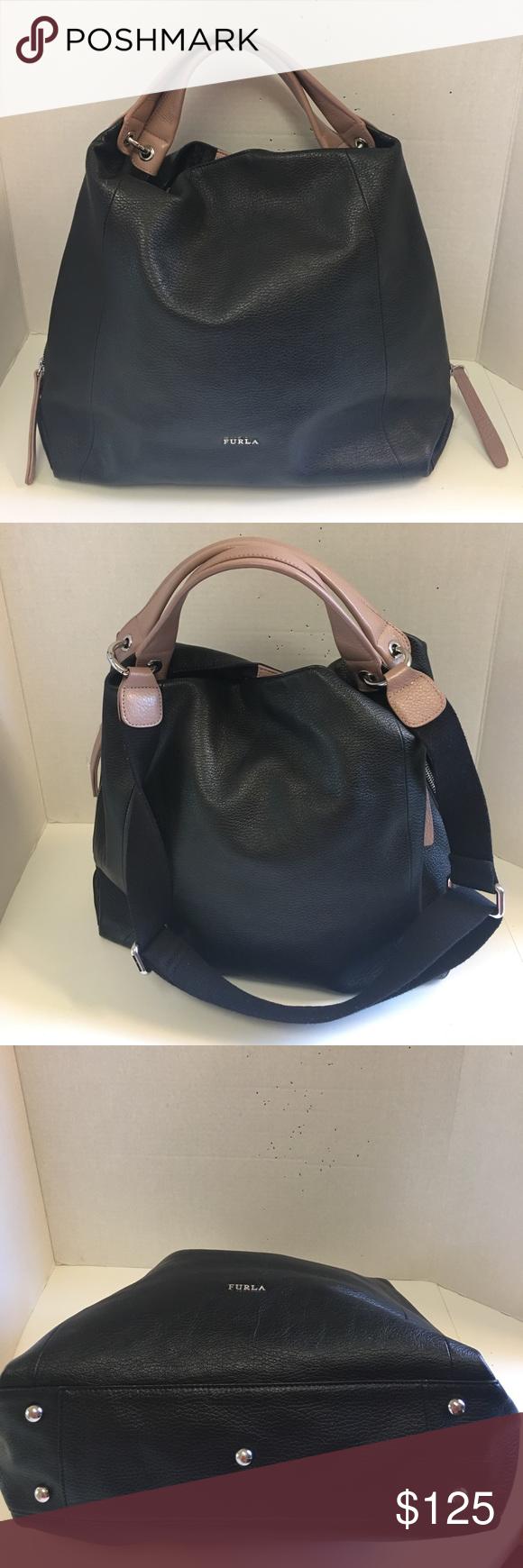 Furla Two Tone Convertible Leather Shoulder Bag Metropolis Bronze Authentic
