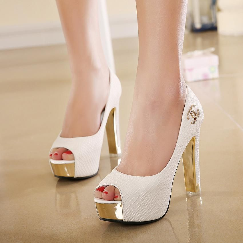 Bridal Shoe Collection In Stock High Heel Liques White Black Wedding Shoes P Toe Sandals