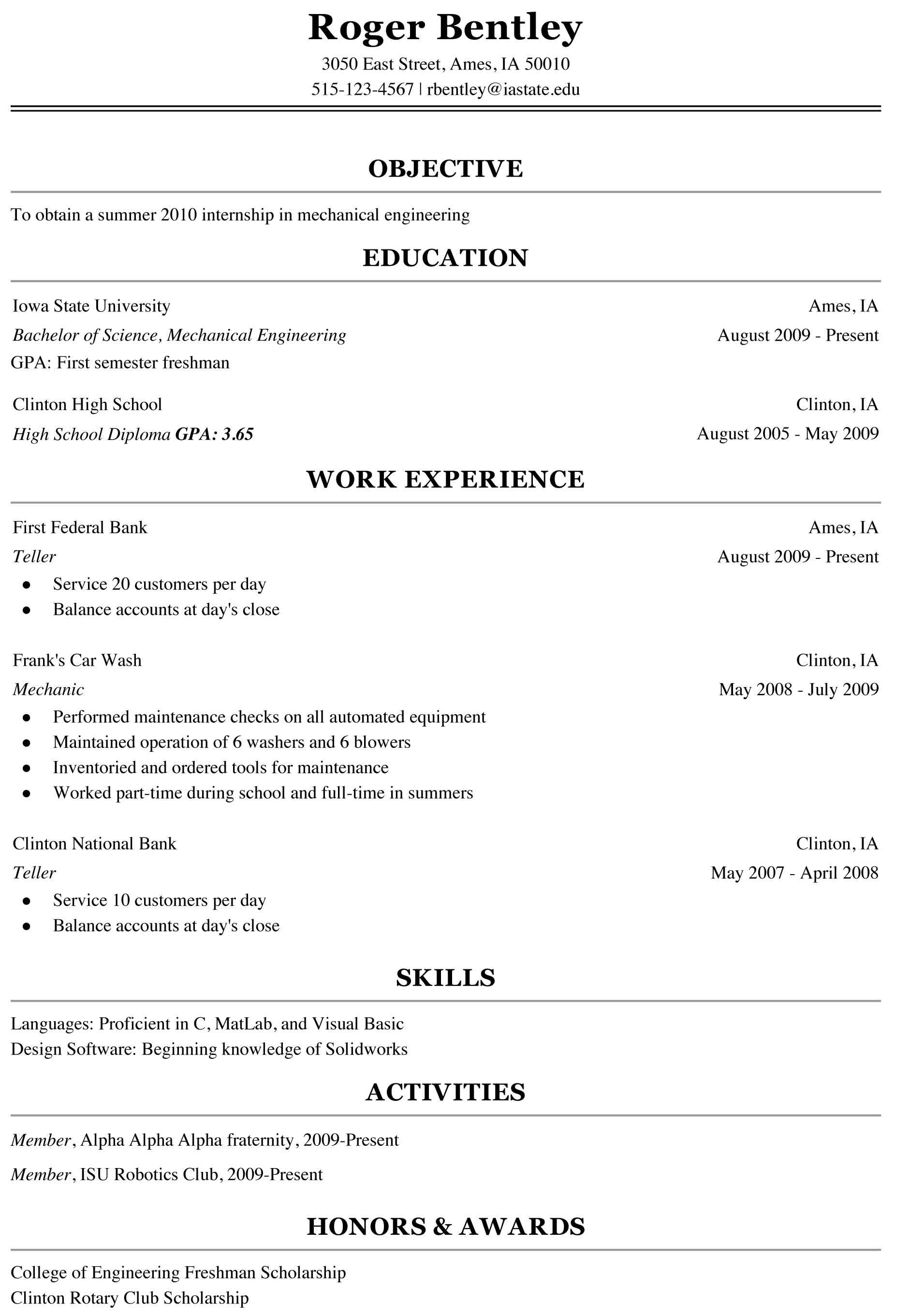 examples of college freshman resumes