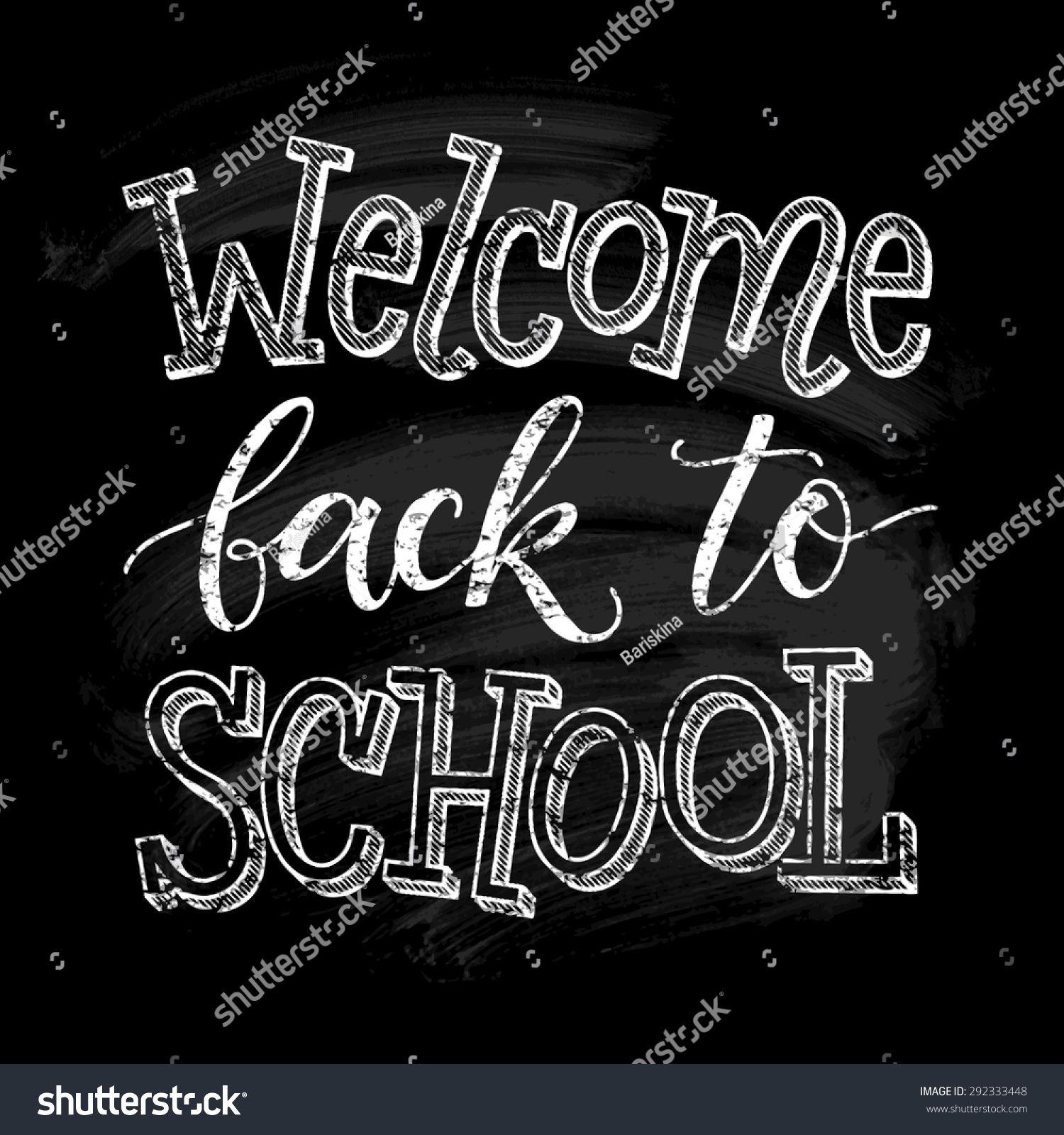 Wel e back to school vector illustration on chalkboard background