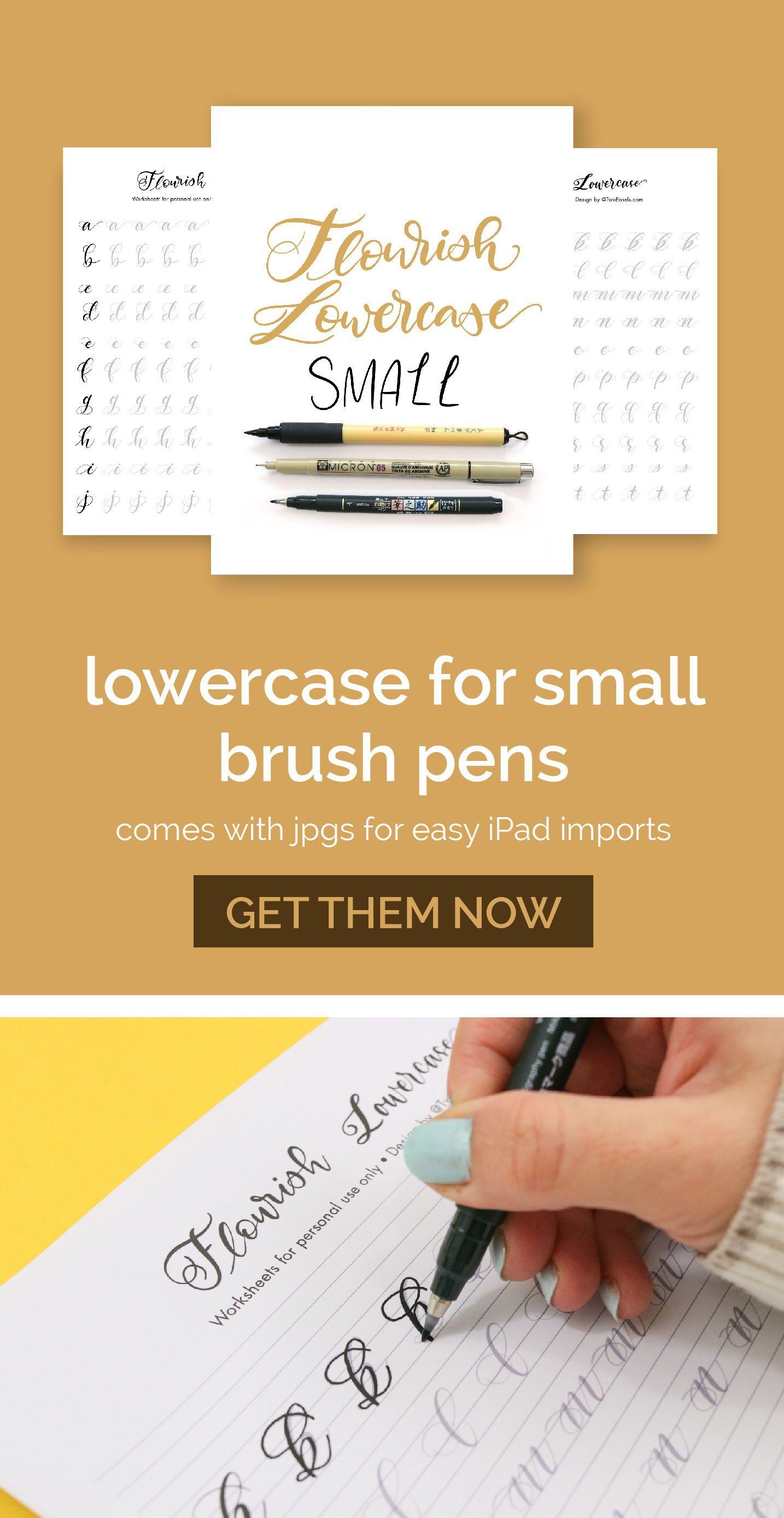 Small Brush Pen Flourish Lowercase Letters Alphabet Modern