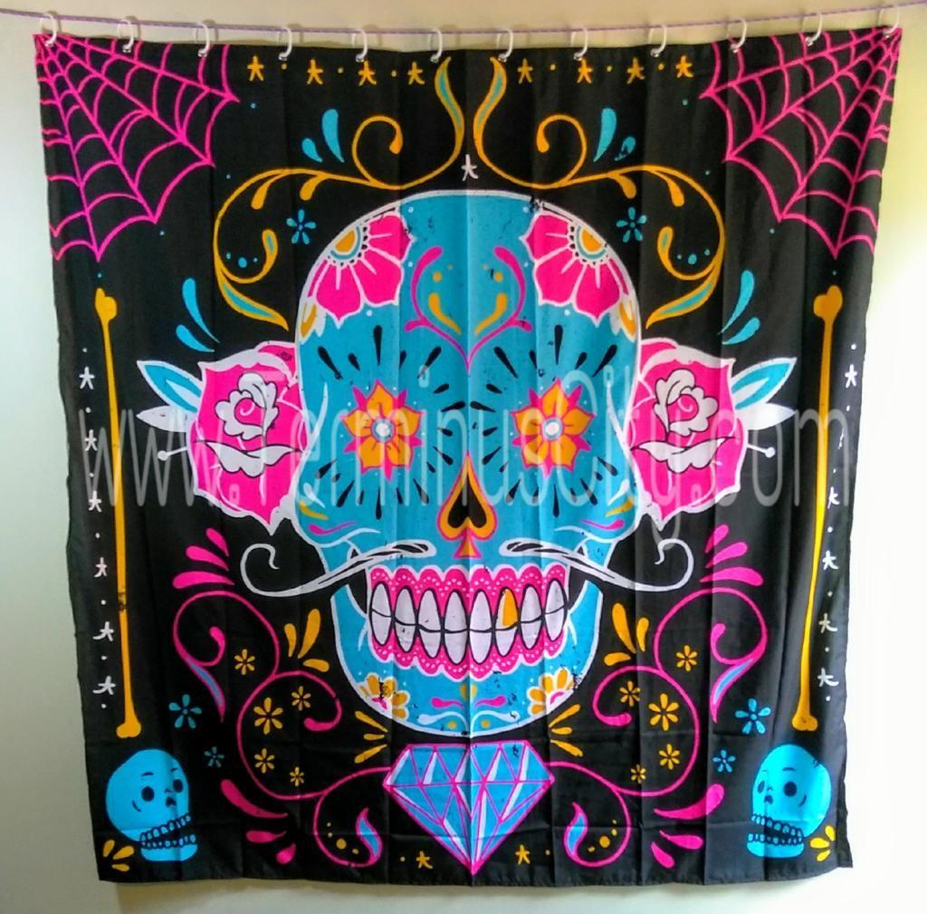 Calavera Shower Curtain #calavera #shower #Curtain #dayofthedead #sugarskull #skull #skulls #pink #blue #black #diamond #bathroom #restroom #decor #halloween #monster #zombie