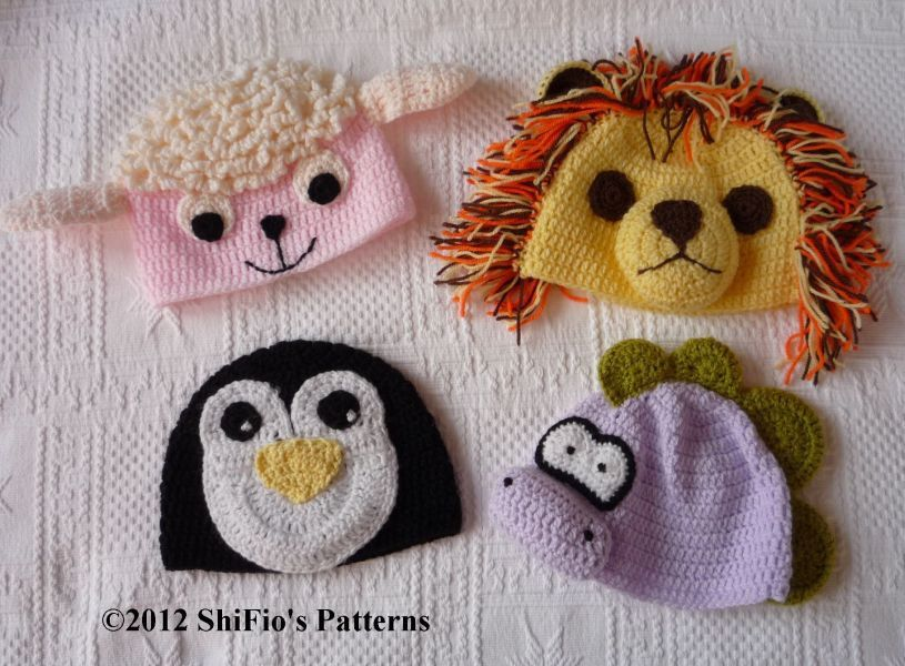 PATTERN in PDF 4 Baby Animal Hats 5 Sizes Lion Dino by shifio, $3.99 ...