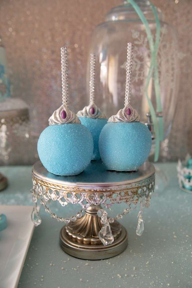 Sparkly apples at a Frozen birthday party! See more party planning ideas at CatchMyParty.com!