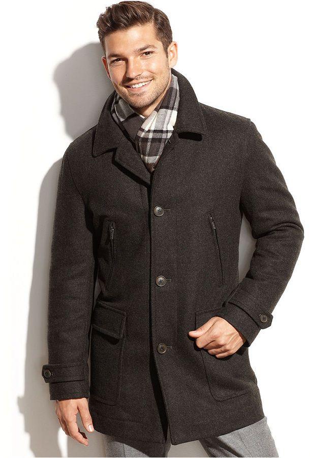 Michael Michael Kors Craig Wool Blend Car Coat With Scarf Great Mens Designer Fashion Look Wool Short Coat Car Coat Mens Designer Fashion