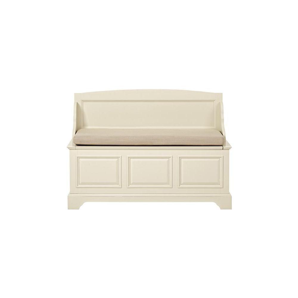 W Sadie High Back Storage Bench In Ivory