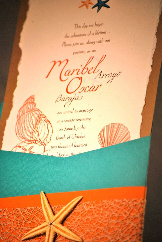 Turquoise Coral Beach Theme Wedding Invitation Beach Theme