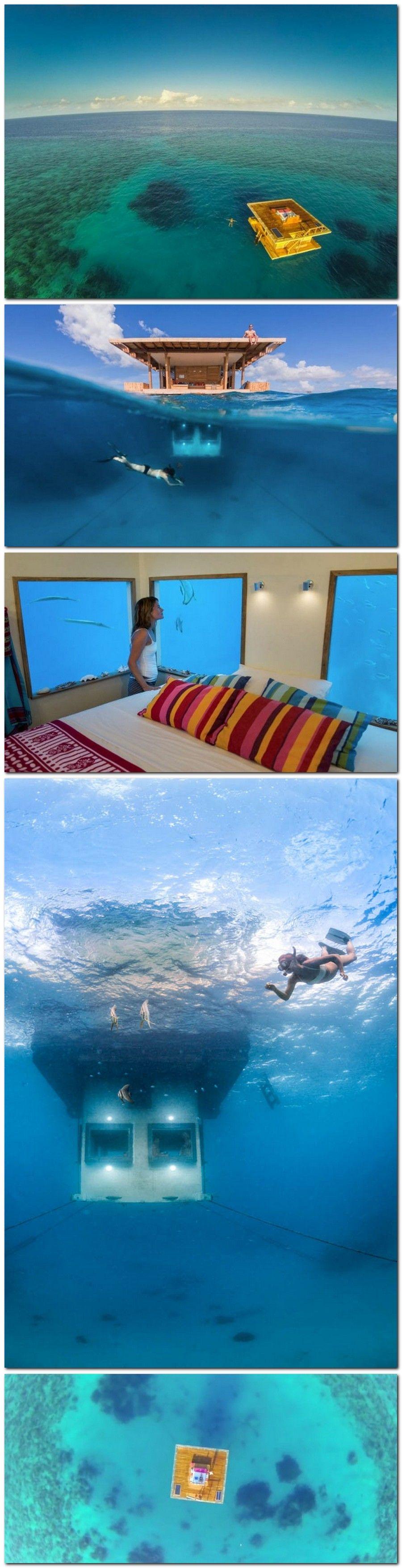 Se imaginan un hotel bajo el agua?  Manta Underwater Hotel Room in Zanzibar#LuxuryHotelsAdvisor.