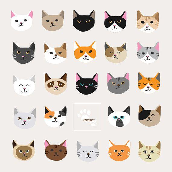 Nursery Cute Cat Faces Animal White Black Orange Grey Clip Art 300 Dpi Jpg Png Files Editable Cute Cat Face Cat Face Cat Day