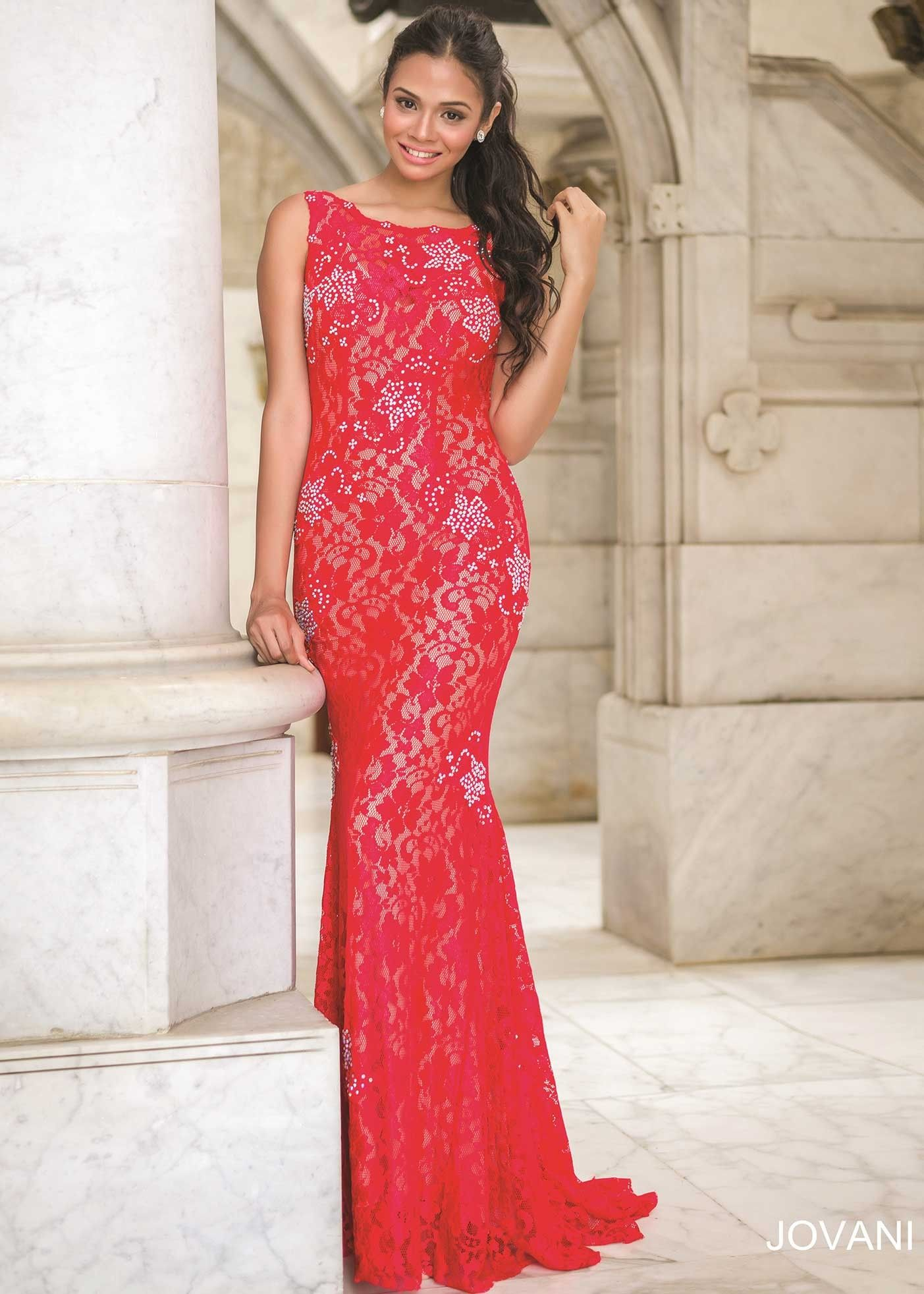 Jovani 21789 Sexy Red Backless Stretch Lace Prom Dress 2016 Prom