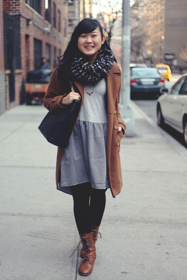 jennifhsieh brown coat gray two toned dress