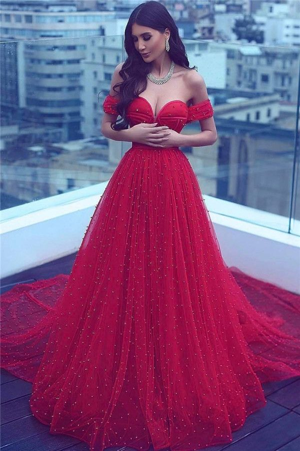 560b9762c12 Red Amazing A-line Beading Court-Train Sweetheart Off-the-shoulder Evening  Dress