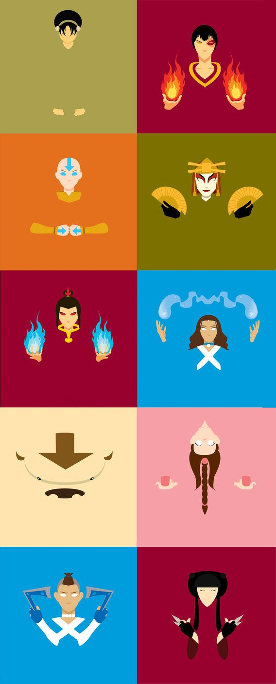 So I Ve Been Working On These For A Few Weeks They Re Really Weird Stylized Versions Of Avatar The Last Airbender C Avatar Airbender Avatar Aang Avatar