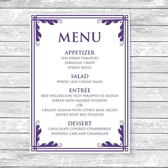 Printable Wedding Menu Template Instant Download MS Word - ms word menu template