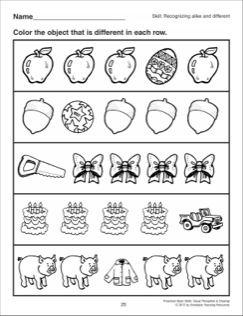 Recognizing Alike And Different Preschool Basic Skills Visual Perception Visual Perception Preschool Color Worksheets