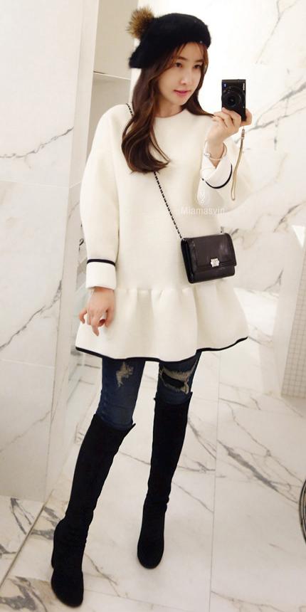 Drop Waist Dress with Contrast Trim   Korean Winter Fashion ...