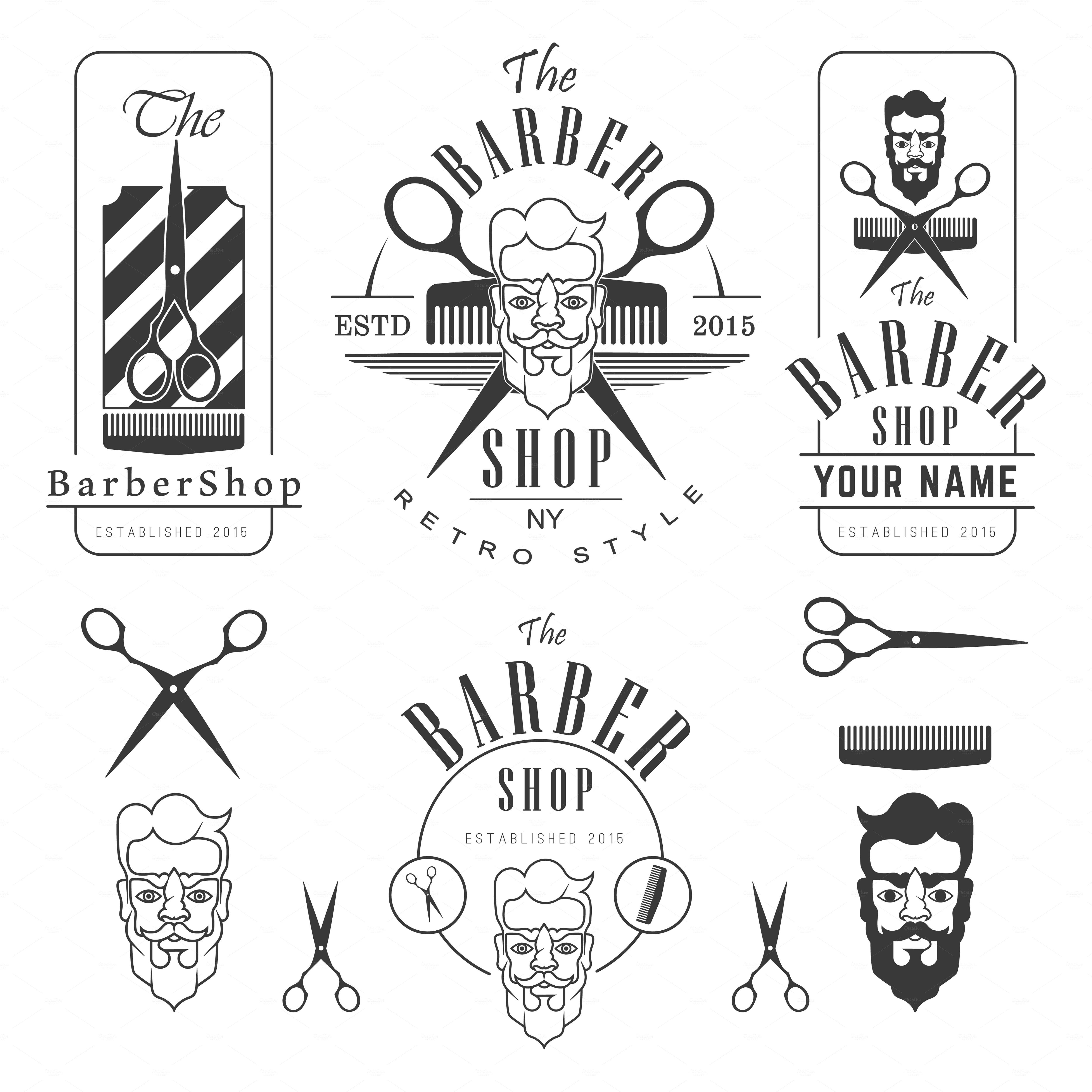 Set Of Vintage Barber Shop Vintage Barber Barber Shop Barbershop Design