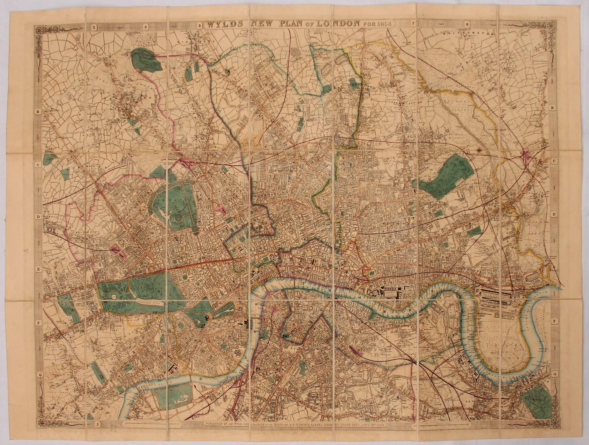 Mapa London%0A   th Century Pocket Map of London   WYLDS NEW PLAN OF LONDON for        by