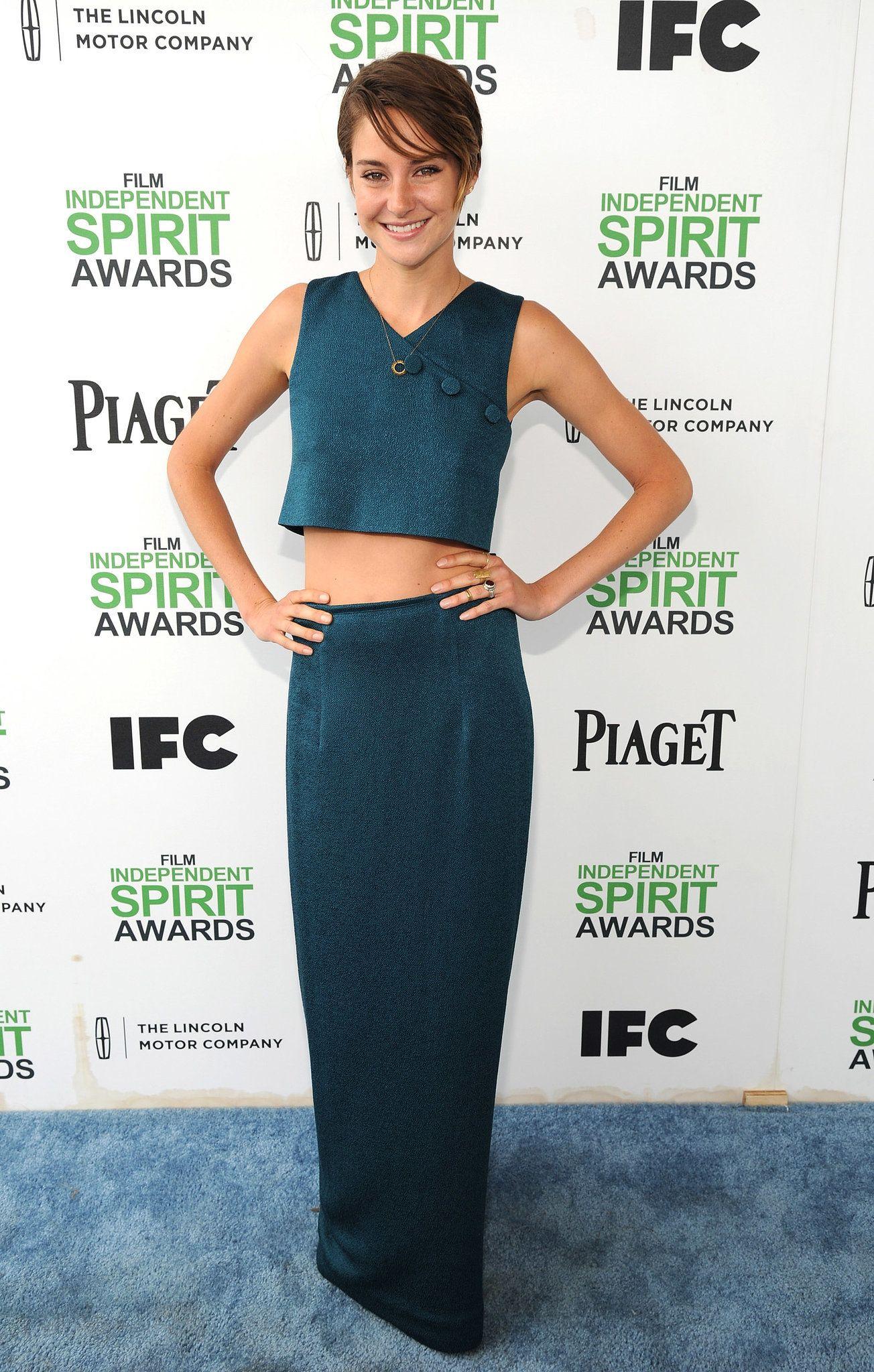 Shailene Woodley bared her midriff in oceanic blue separates.