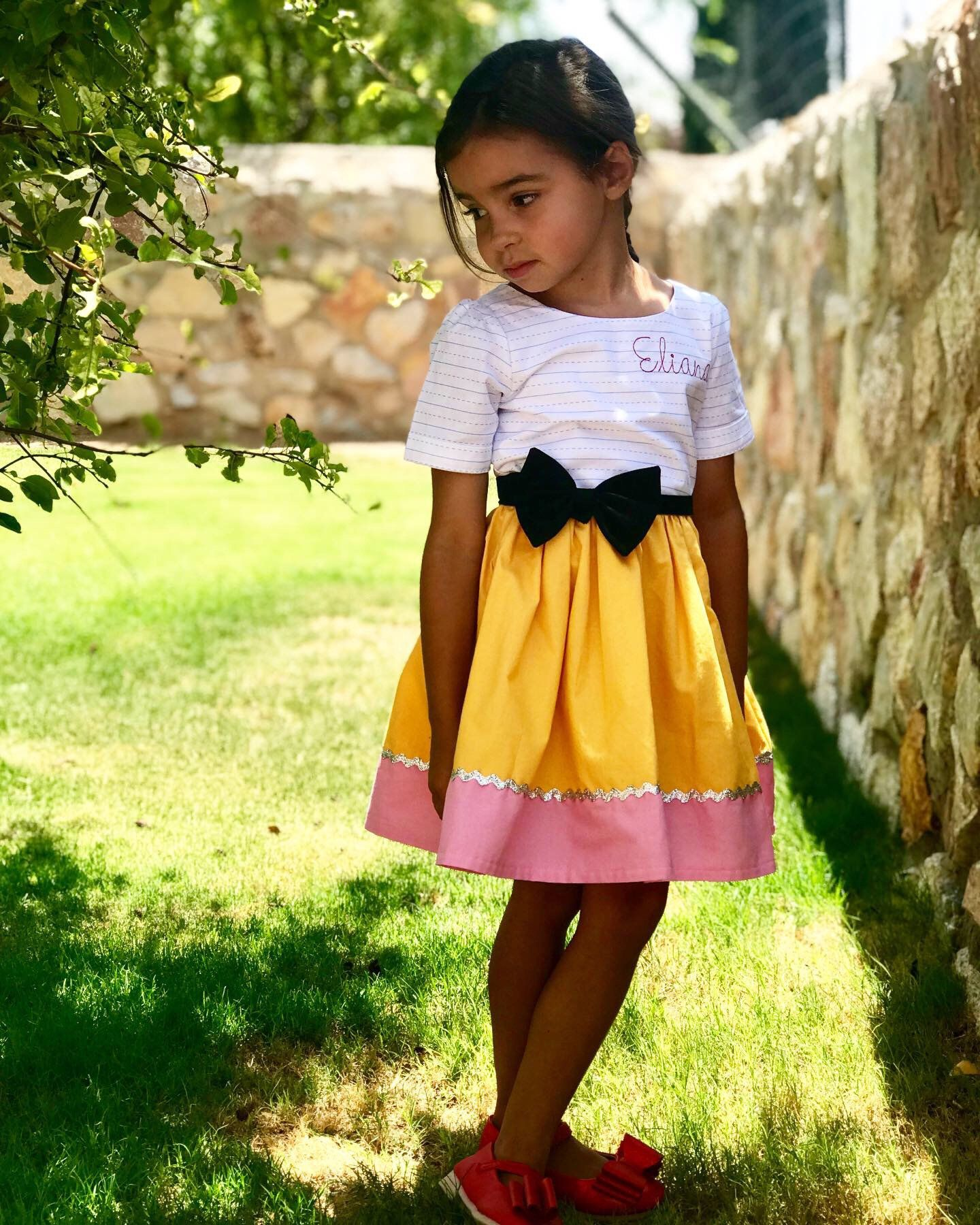 Girl's Pencil Dress, Girl's Back to School Dress, First Day of School Dress, Girl's First Day of School Outfit, Pencil Inspired Dress #firstdayofschooloutfits