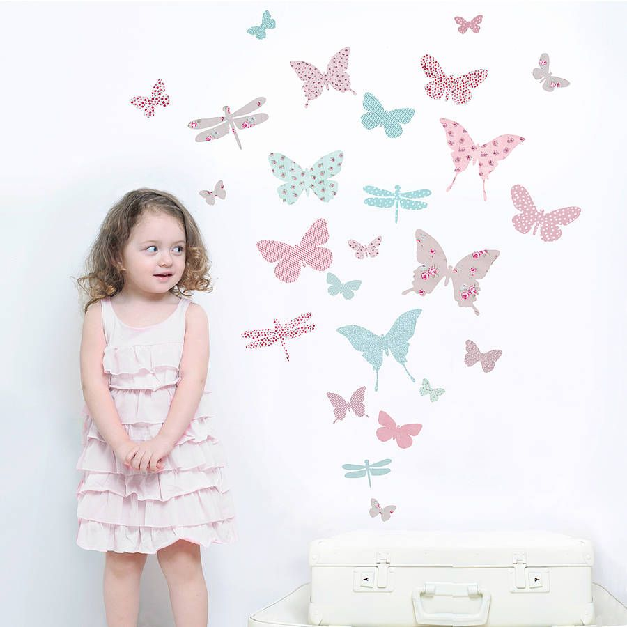Lovely Childrenu0027s Butterfly Fabric Wall Stickers Part 22