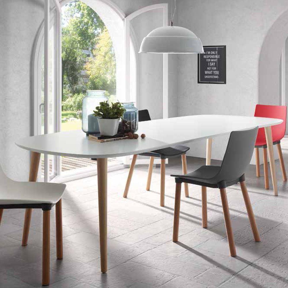 Tavolo Allungabile Laccato Bianco.Tavolo Allungabile Ian Ovale Con Piano In Mdf Laccato Color
