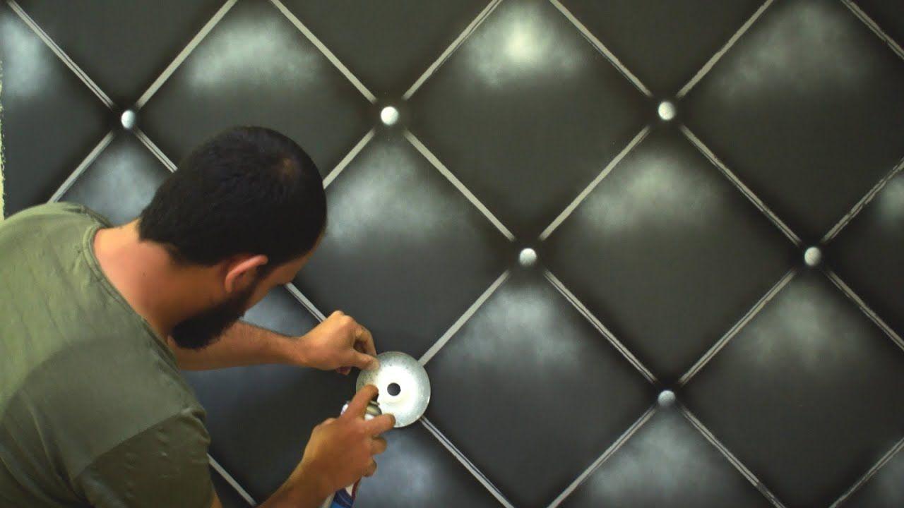 اصنع بنفسك ديكور التنجيد الاسود باستخدام الشريط اللاصق Youtube Wall Design Wall Paint Patterns Diy Wall Painting