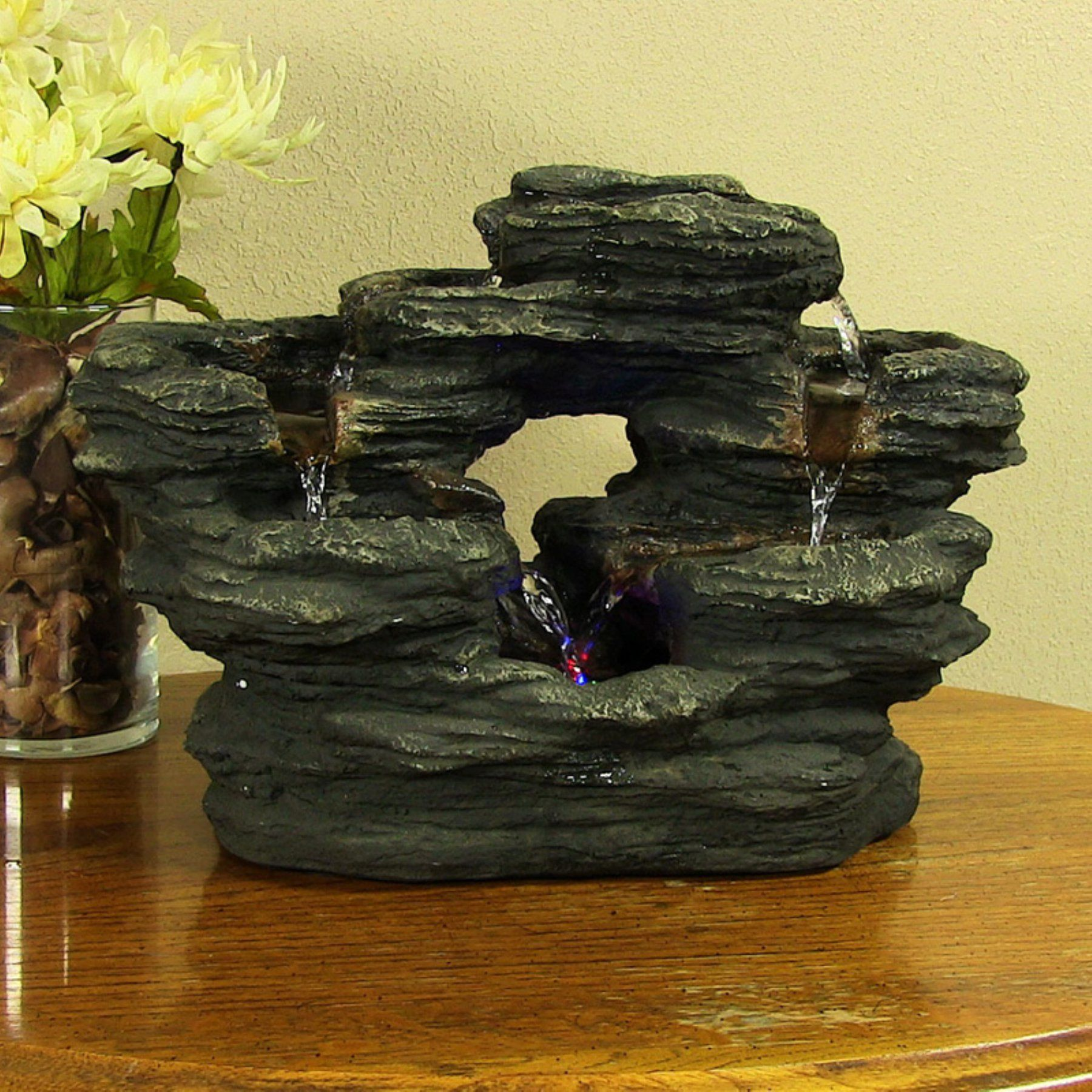 Sunnydaze Decor Two Stream Rock Tabletop Fountain with LED Light - DW-158102 ed4526ccc