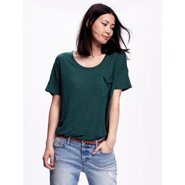 73f42028 Old Navy Short Sleeve Linen Blend Boyfriend Tee For Women ($14) ❤ liked on  Polyvore featuring tops, t-shirts, emerelda, short sleeve tee, old navy tops,  ...