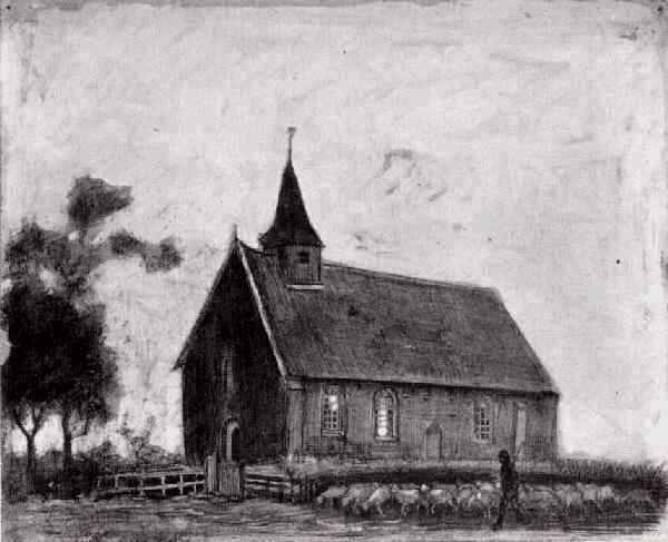 Vincent van Gogh: Shepherd with Flock near a Little Church at Zweeloo  Drente: 2 November 1883 (Private collection)