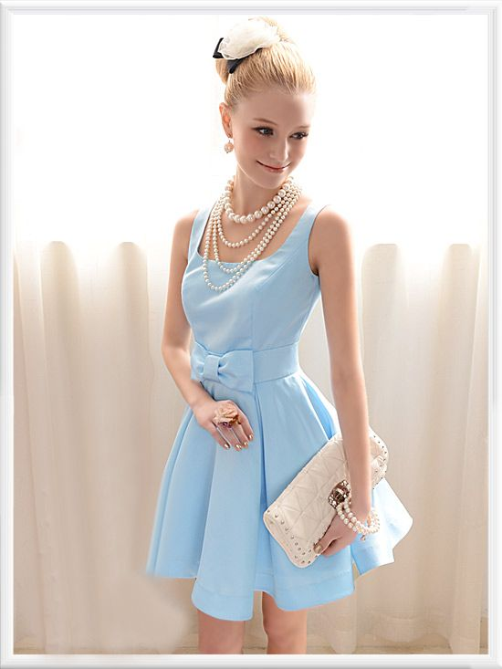 cf319999ae60 Baby blue dress and pearls | Dreamy Dresses | Dresses, Baby blue ...