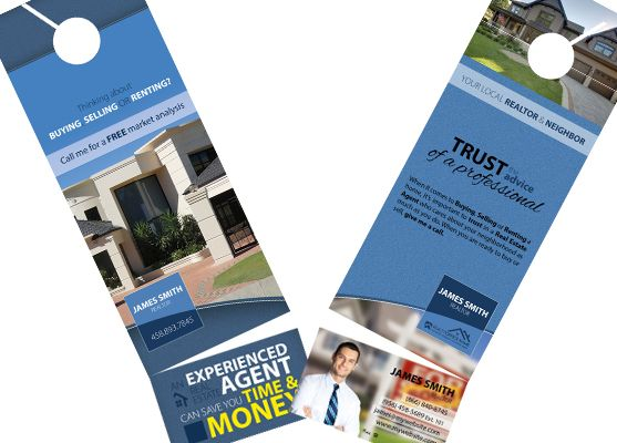 2-in-1 Door Hangers with Business Cards Real Estate Door Hanger