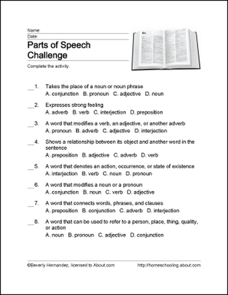 Printable Activities for Learning the Parts of Speech ...