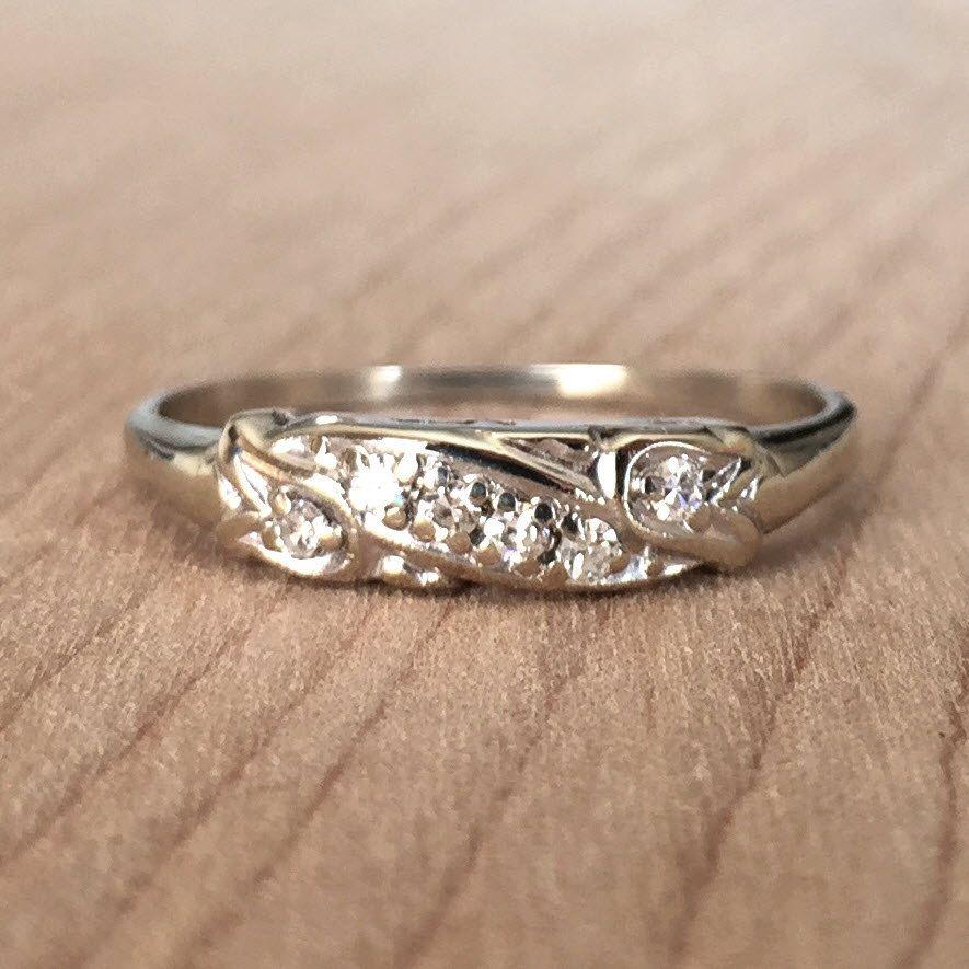 Vintage Ribbon Diamond Wedding Band 6 Diamonds Rox 0 12ctw Size10 25