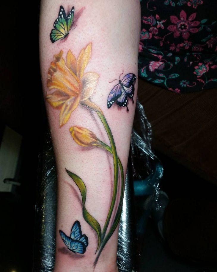 Daffodil And Butterfly Tattoo Daffodil Tattoo Neck Tattoo Daffodil Flower Tattoos