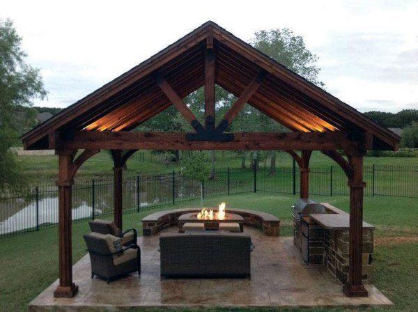 Top 50 Best Backyard Pavilion Ideas Covered Outdoor Structure Designs Backyard Pavilion Backyard Gazebo Backyard Fireplace