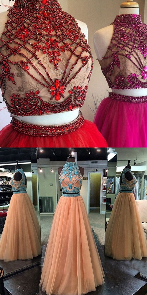 Hot-Selling Two Piece Prom Dress - High Neck Champagne with ...
