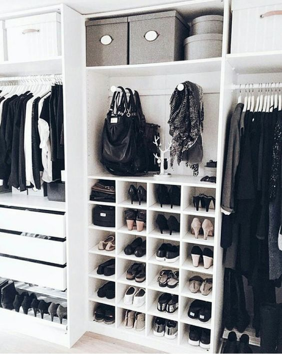 Closet organization inspiration. I love the white shelving and gray boxes, how the the shoes are organized.