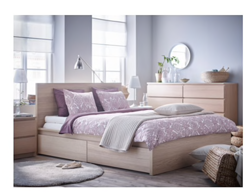 Malm High Bed Frame 4 Storage Boxes Black Brown Luroy Queen Ikea In 2020 Malm Bed Ikea Bedroom Furniture Ikea Malm Bed