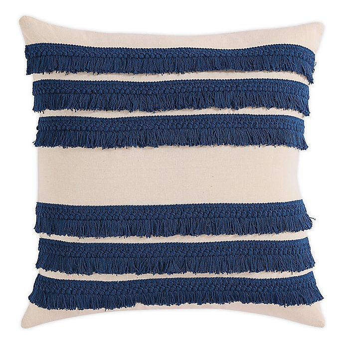 Morgan Home Square Decorative Fringe Throw Pillow Cover Bed Bath Beyond Navy Blue Throw Pillows Navy Throw Pillows Blue Throw Pillows
