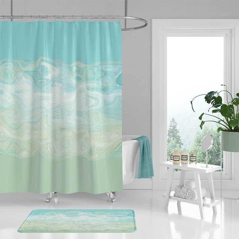 Shower Curtain And Bath Mat Blue Mint Green Abstract Bath