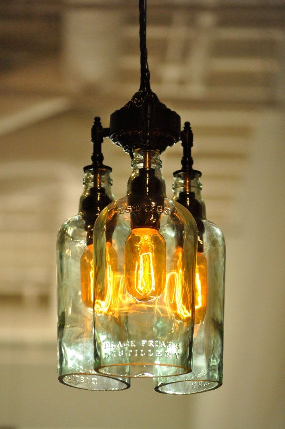 Recycled Bottle Light Chandelier - The Marquis Gin - With Vintage - Lamparas Caseras
