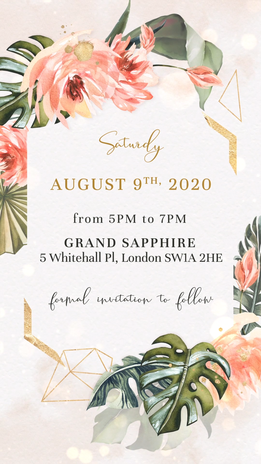 Tropical Wedding Save the Date Invitation with Coral and Tropical Leaves -   19 wedding Invites tropical ideas