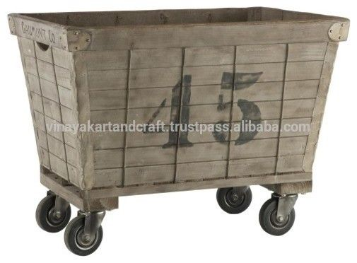 Antique Industrial On Wheels Vintage Industrial Laundry Basket