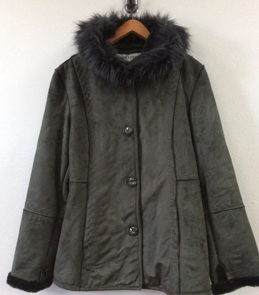 efc3bc99ed85 Fitz Wright Women s Coat Size M Gray Faux Suede Fur Lined Hooded ...