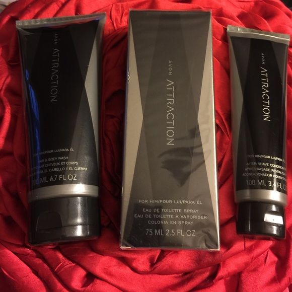 ATTRACTION FOR HIM Attraction 3 piece set Toilette Spray, hair/ body lotion and after shave conditioner! Make great Valentine's Day❤️ gift! Free gift with purchase! Avon Other