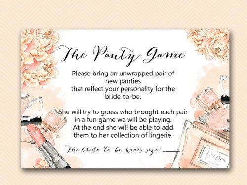 bs518 panties guessing game card parisian bridal shower
