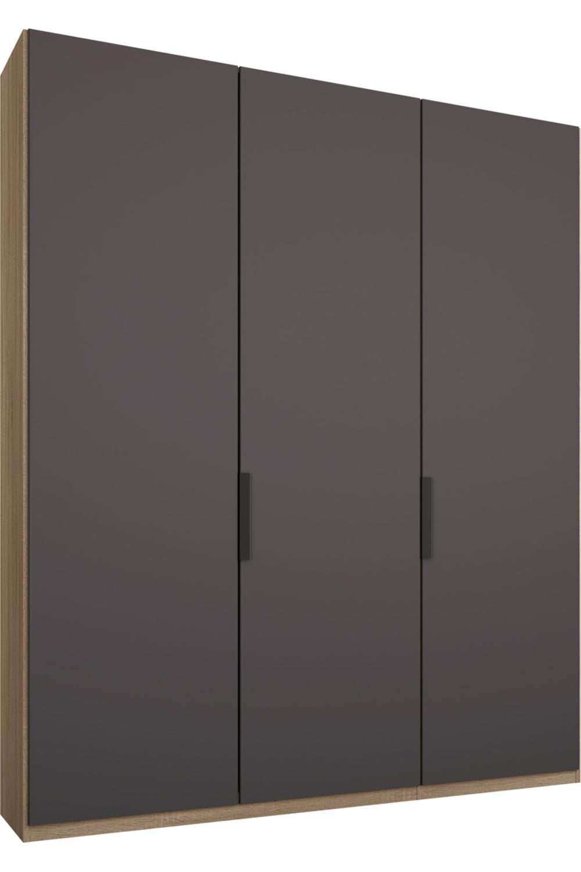 Caren Kleiderschrank Mit 3 Turen 150 Cm Classic In Eiche Und Mattgrau Grey Doors Sliding Door Wardrobe Designs Grey Cupboards